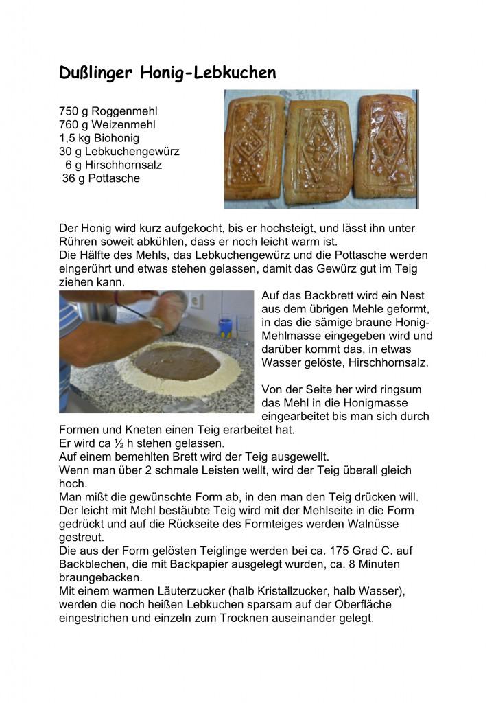 Dußlinger Honig-Lebkuchen Rezept