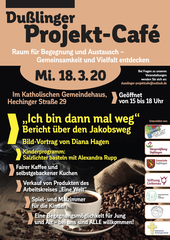 "Projket Cafe Plakat mit Ankündigung des Films ""Ich bin dann mal weg"""